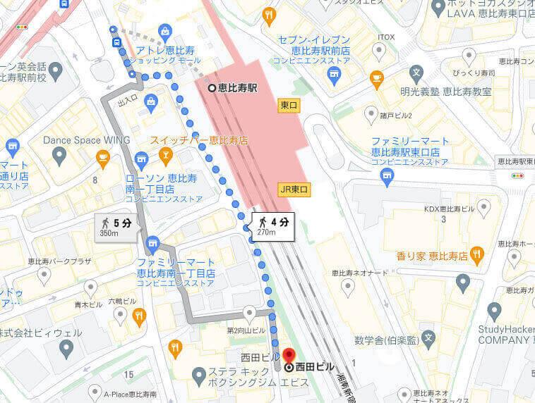 恵比寿駅から西田ビル